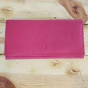 Liz Claiborne hot pink leather clutch wallet NEW